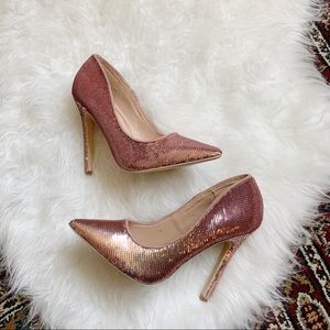 Cape Robbin Rose Gold Sequin Stiletto Pump 7.5